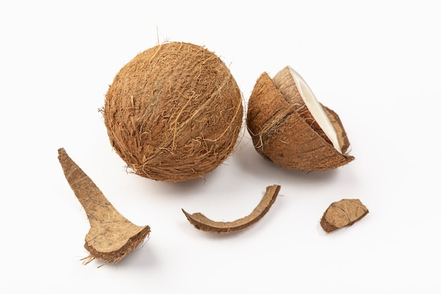 High angle of coconut with shell