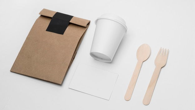 High angle coffee branding items