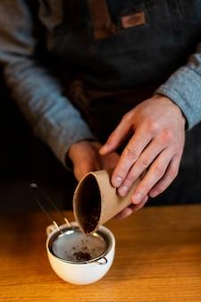 High angle coffee process at coffee shop