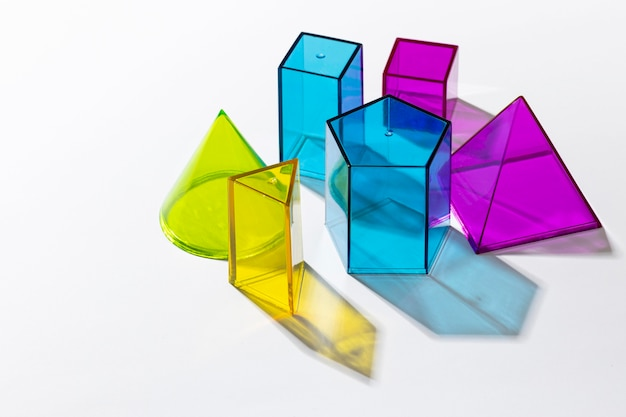 High angle of colorful translucent shapes