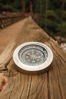 High angle compass on bridge edge