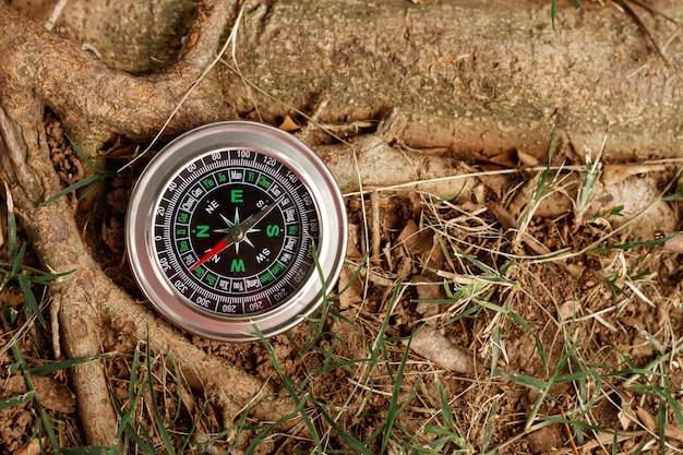 High angle compass next to tree