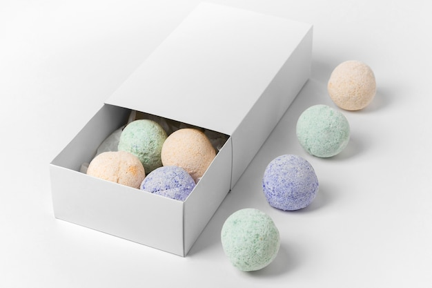 High angle composition of different colored bath bombs
