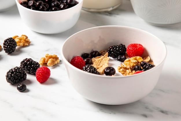 Composizione ad alto angolo di cereali ciotola sana si chiuda