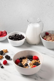 High angle composition of healthy bowl cereals with berries