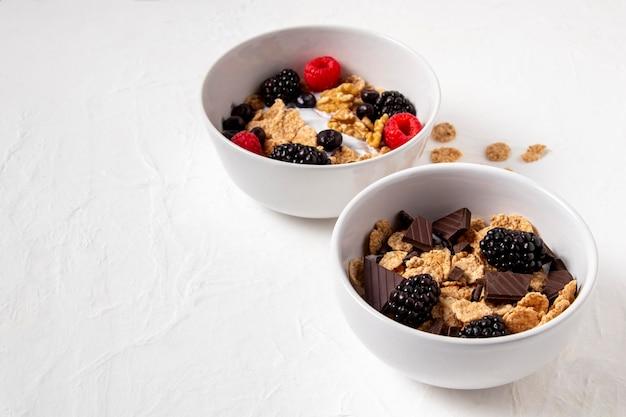 Composizione ad alto angolo di cereali sani ciotola con copia spazio