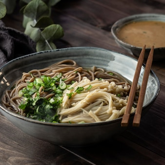High angle composition of noodles on a table