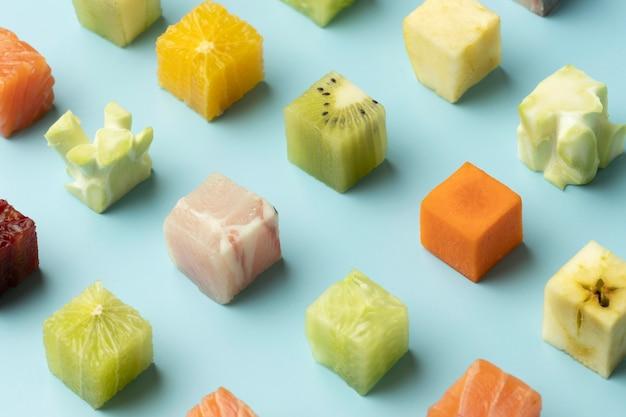 Состав здоровой замороженной пищи под высоким углом