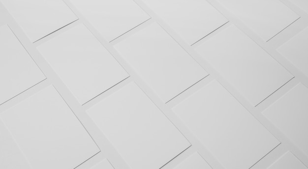 High angle composition of white visiting cards