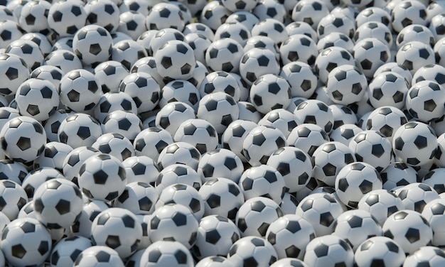 High angle of composition with soccer balls
