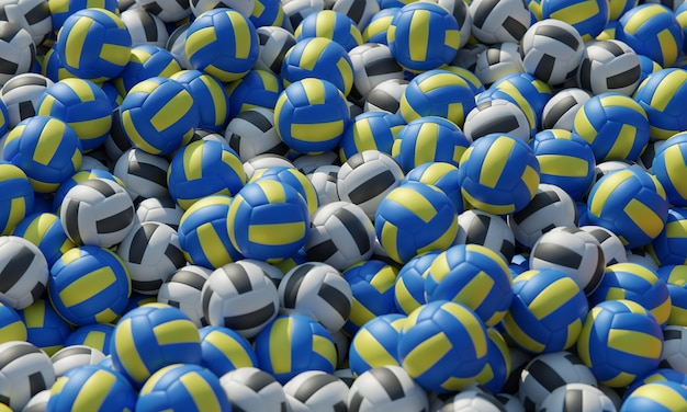 High angle of composition with volleyballs