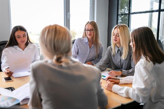 High angle corporate team meeting