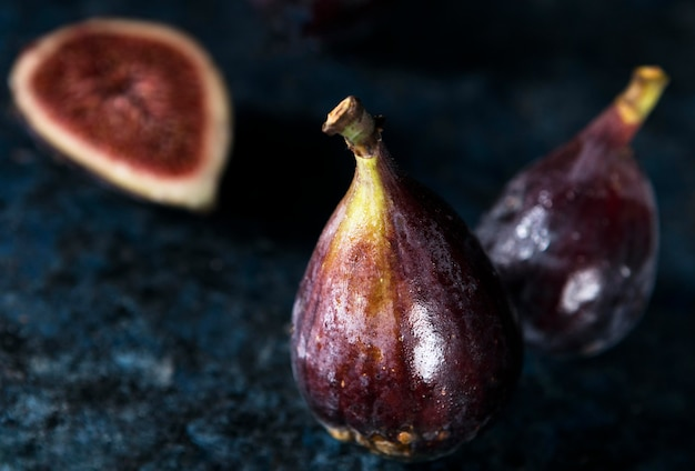 High angle of couple of autumn figs