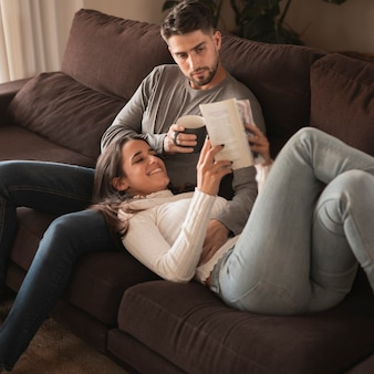High angle couple enjoying time at home