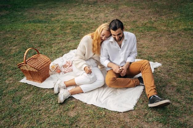 ピクニックをしている高角度のカップル