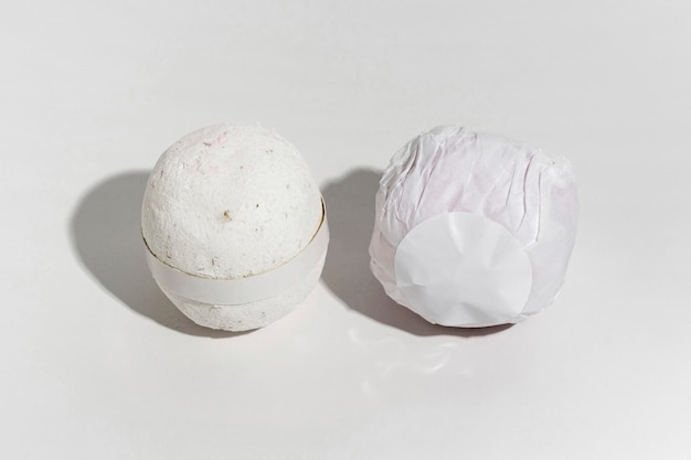 High angle creative assortment of packaged bath bombs