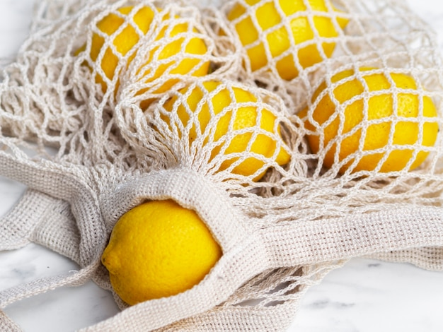 High angle crochet net bag with lemons