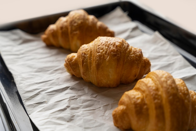 High angle croissants on tray