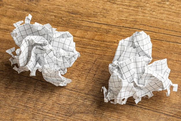 High angle of crumpled paper
