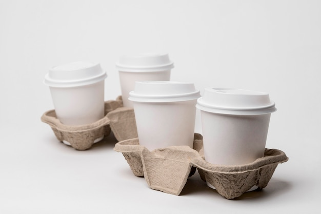 High angle cup holders with cups