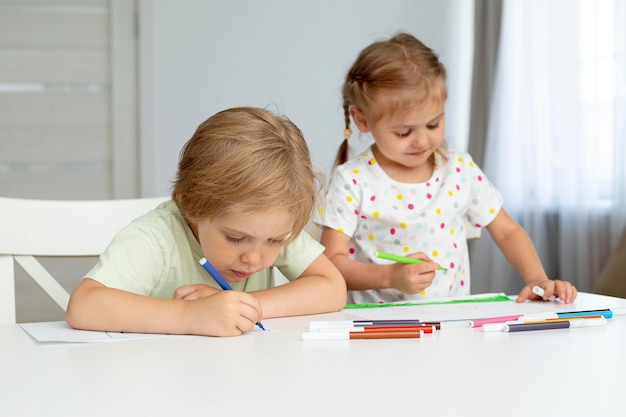 High angle cute kids drawing
