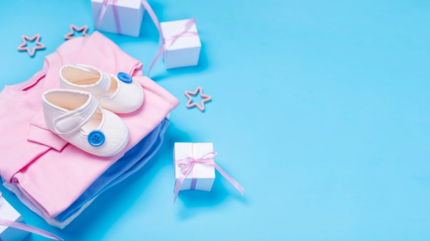 High angle of cute little baby accesories with copy space