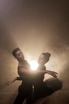 High angle dancers couple performing