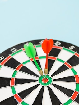 High angle of darts on bull's-eye