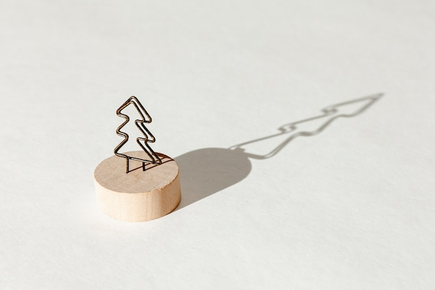 High angle decoration with fir tree and its shadow