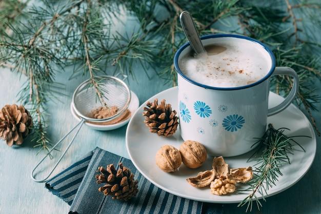 High angle decoration with mug of hot chocolate