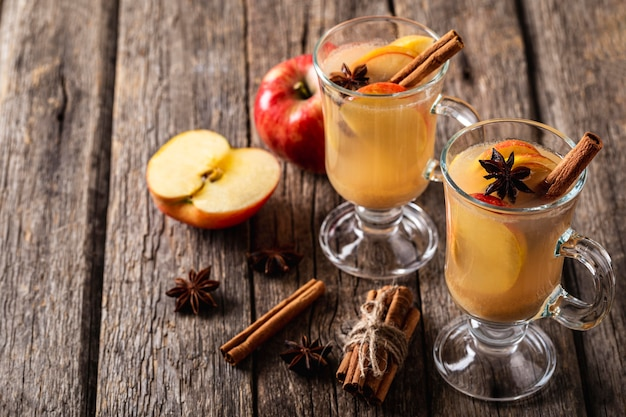 High angle of delicious apple drink concept