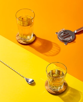 メガネのハイアングル美味しい飲み物