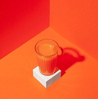 High angle delicious carrot juice