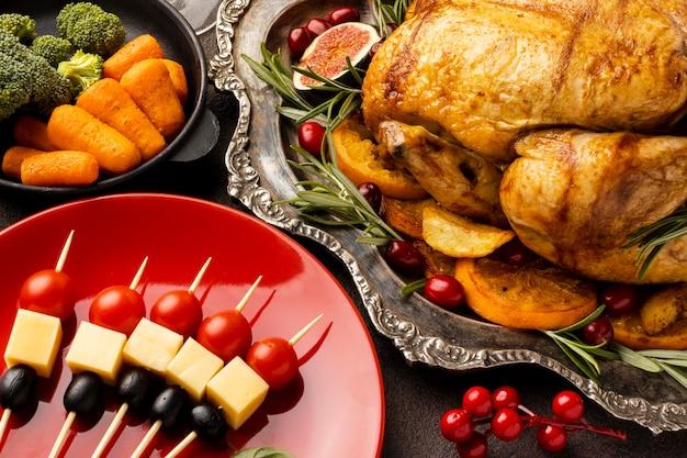 High angle delicious christmas dish composition