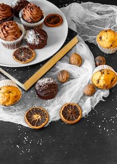High angle of delicious cupcake concept