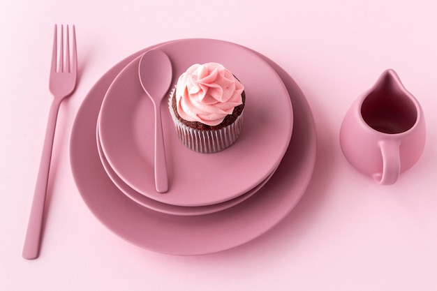 High angle delicious cupcake on plate