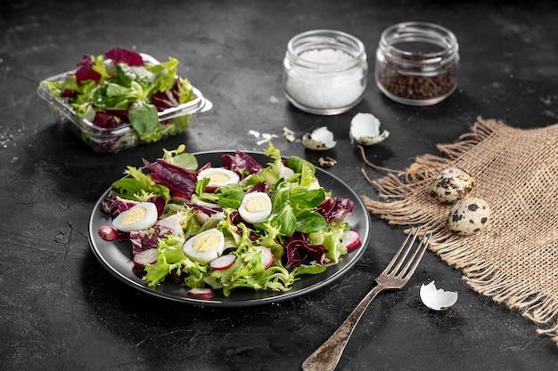 High angle delicious fresh salad assortment