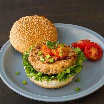 High angle delicious hamburger