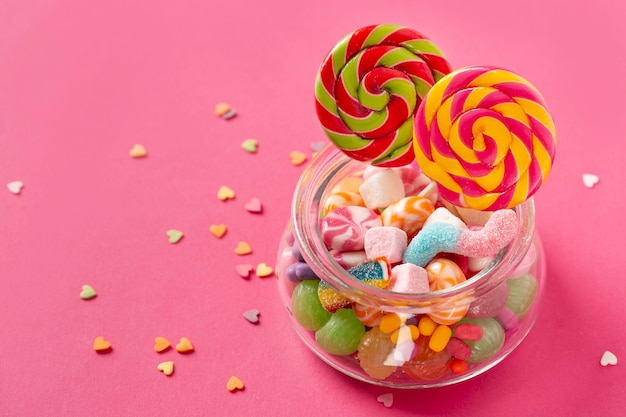 High angle of delicious lollipops