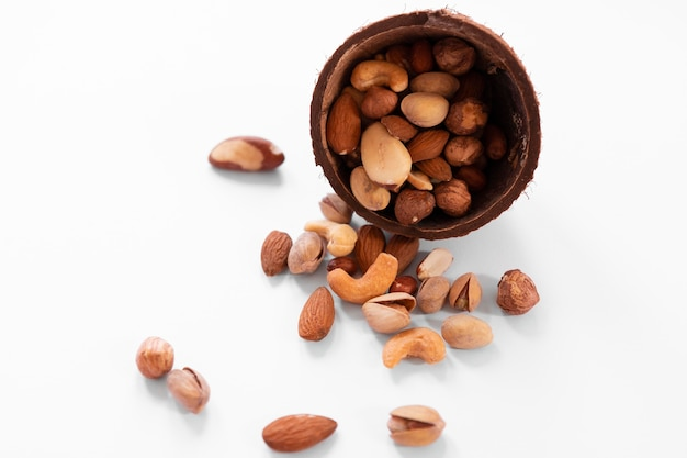 High angle of delicious nuts arrangement