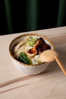 High angle of delicious ramen in bowl