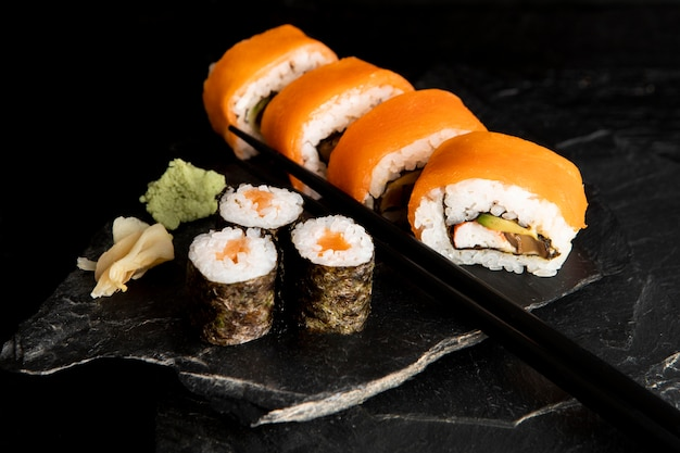 High angle of delicious sushi concept
