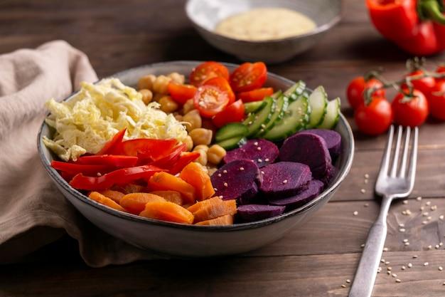 High angle delicious vegetarian food bowl
