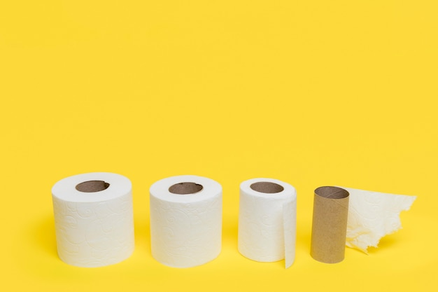 High angle of different sized toilet tissue paper