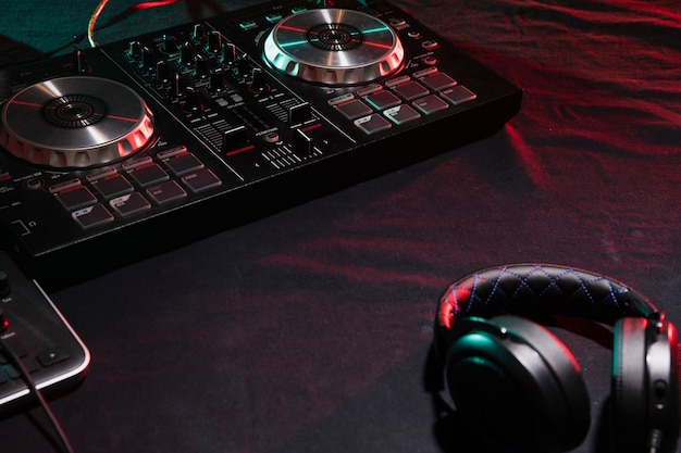 High angle dj professional equipment