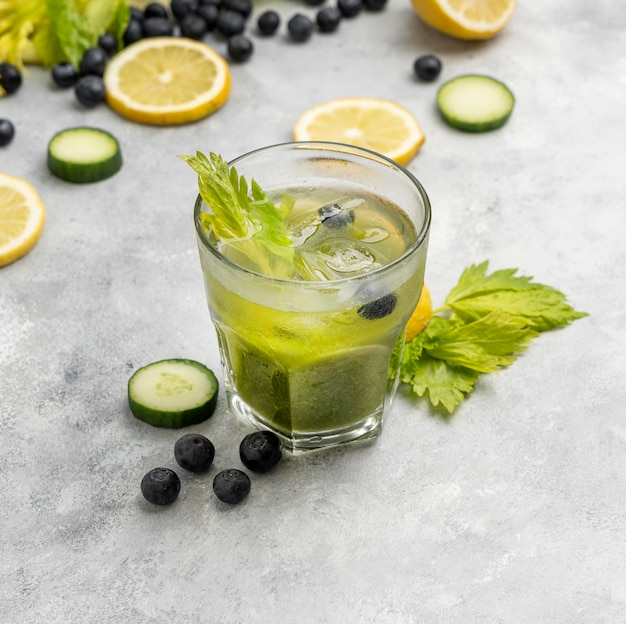 High angle drink with herbs and fruits