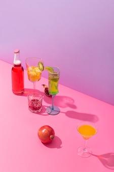 High angle drinks and fruits