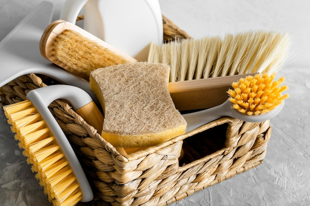 High angle of eco-friendly cleaning brushes in basket