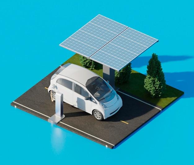 Auto elettrica ad alto angolo su strada