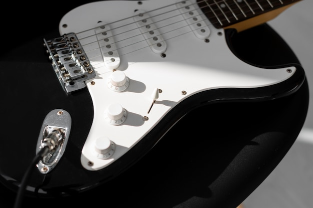 High angle of electric guitar